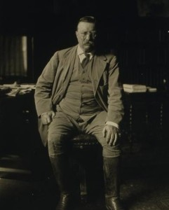 Roosevelt in his study at Oyster Bay around the time of the road building project