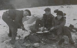 Campfire at Bald Hill, February1956.Left to right: John Kohler, David Butler & Jim Stone
