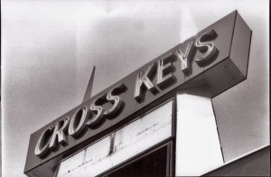 The road sign for the Cross Keys shopping center, before its complete renovation in 2003