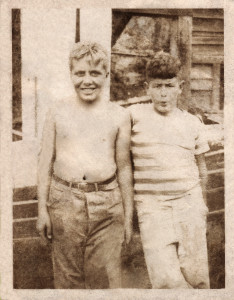 Dave (left) and Freddy in a Polaroid shot from 1949. Photo restoration by Wally Beagley