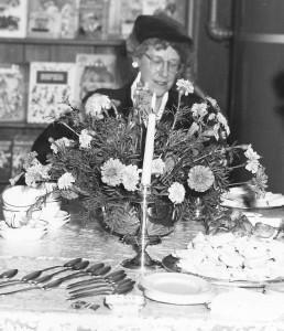 Dorothy Palmer at tea. October 20, 1951