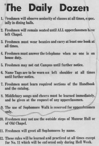 Rules for freshmen men at Middlebury in 1957