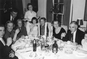 A Larsen Christmas in the late 1950s. Seated left to right: Dave, Elsa Brown, Mrs. Selmer-Larsen, Ann Larsen, Margaret Larsen, Dave's mother Maude and father Joe. Standing: Erik Brown and Ingrid Selmer-Larsen