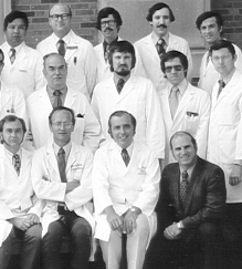 Washington University Otolaryngology faculty in 1972. Wally Berkowitz is second from left in the back row. Dave is send from right int he front row