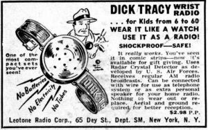 """Crystal Radio promoted on the """"Dick Tracy"""" readio serial in the 1940s"""