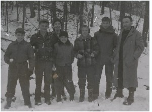Troop 3 Scouts at Bald Hill Reservation in Boxford, MA. Left to right: John Kohler, David Butler, Terry Soule, Jim Stone, Don Ridgeway, Bill Doane & Assistant Scoutmaster Bob Baum at Bald Hill. Photo from Bob Baum