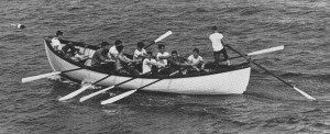 "Marblehead Sea Scout in their whaleboat off Fort Sewell. from Hartley Alley's "" A Gentleman from Indiana Looks at Marblehead"" 1963"