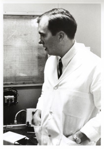 A Middlebury prof in his lab. 1968 photo by Walter Beagley