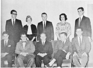 Back row: Bill Custard, Lorrie Kittredge, Jim Dreves, Mary Hart & Dave Gannett. Front Row: John Wallach, Mike Black, Ed Rothchild, Pete Frame & Pete Leone